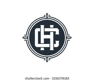 Simple Classic Circle with Initial Name Letter CH or HC Sign Symbol Monogram Logo Vector