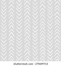 Simple classic herringbone pattern. Monochrome vector seamless pattern. Abstract hand drawn background in grey color.