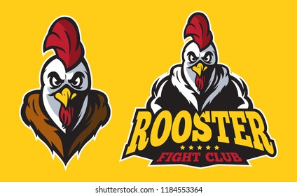 Simple classic modern rooster logo, rooster fight club, suitable for sport logo