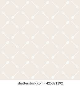 Simple classic pattern with Spoons and Forks. Abstract seamless texture with fork and spoon. Nice kitchen theme background.