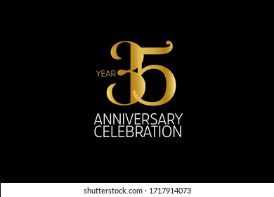 Simple Classic Style 35 year anniversary, Line Gold Style for invitation card, birthday card, banner, poster - vector