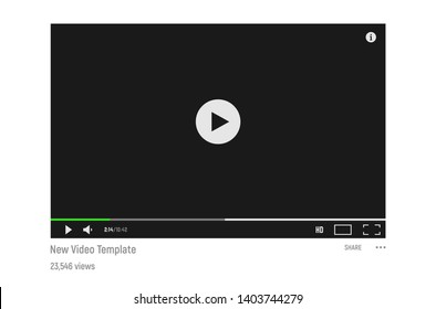 Simple and classic style dark video player template. Template for video web player in dark colors.