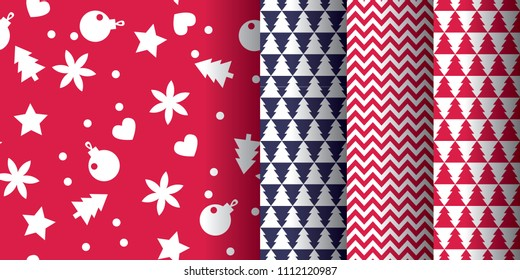 Simple classic xmas seamless pattern set for background, wrapping paper, fabric, surface design. Naive Christmas repeatable motif in red and blue colors. stock vector illustration