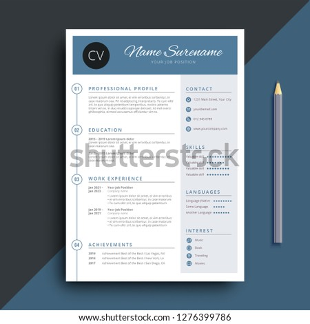 Simple And Classy Blue Resume CV Template