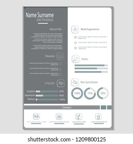 simple classy cv resume template vector