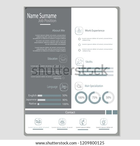 Simple Classy Cv Resume Template Vector Image Vectorielle De Stock