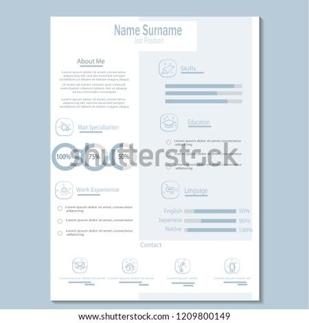 Simple Classy Cv Resume Template Vector