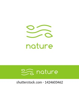 Simple clean air wind wave nature logo with minimal line outline monoline icon symbol of leaf and wind