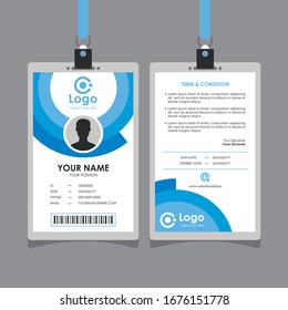 Simple Clean Blue Id Card Design With Circle Shape, Professional Identity Card Template Vector for Employee and Others