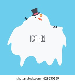 simple clean cartoon Snowman vector flat design style melting. happy christmas in winter or in the summer with carrot isolated, hat & branch on light blue background with space & text here