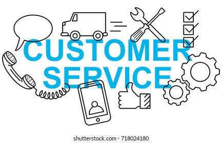 Simple clean conceptional vector illustration of text CUSTOMER SERVICE banner with flat line icons isolated on white background