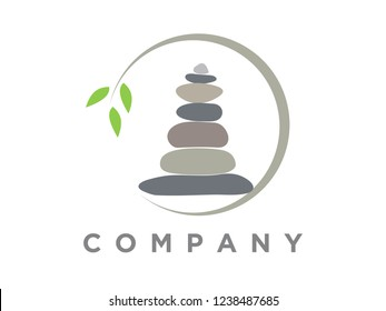 Simple and clean design illustration rock balancing.
