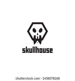 simple, clean, elegant, modern, unique, bold and sophisticated logo design with skull and home for building, game, sport, construction, landmark, real estate, etc