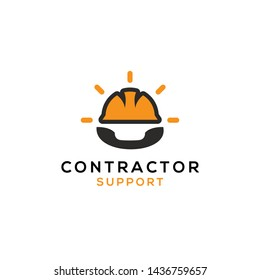 simple, clean, elegant, unique, modern and bold logo design illustration with sun, contractor helmet and phone for industrial, technology, job, labor, construction, support, labor, call center, etc