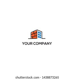 simple, clean, elegant, unique, and modern logo design illustration inspiration with bricks and city for construction, real estate, building, etc