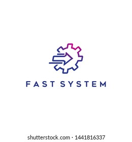 simple, clean, elegant, unique, sophisticated, strong, powerful and modern logo design with gear or system and arrow