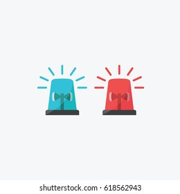 simple clean Emergency vehicle lighting icon vector or symbol. red & blue flashing light for Police, ambulance, or Firefighters siren sign flat design style illustration