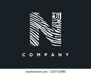 Simple and clean illustration initial logo zebra / wood texture.