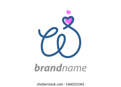 Simple and Clean illustration Logo initial Mono line W with heart.