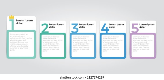 simple clean infographic element design with five number options use for step, workflow, diagram, banner, process, business presentation template, web design, list, timeline.