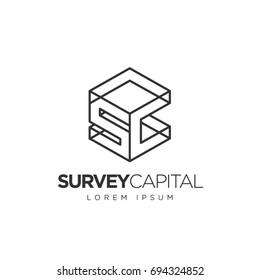Simple Clean Line Cube Initial Letter SC Logo Symbol