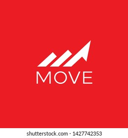 simple and clean logo design with initial M forming moving or arrow