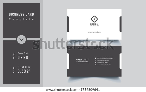 Simple And Clean Minimalist Business Card Template, Corporate Business Card Design Vector Simple Style. Branding, Horizontal Layout. Vector illustration, Double Sided Creative Name Card
