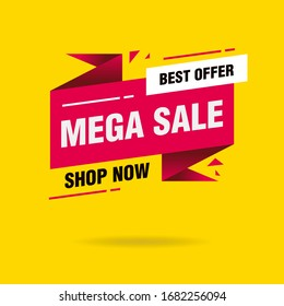 Simple Clean Pink Mega Sale Callout Sign banner on Yellow Background Design, Discount Banner Template Vector for advertising, social media, web banner