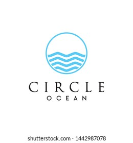 Simple, clean and unique logo that represent the ocean and circle - vector.