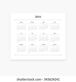 Simple and clean vector calendar template for 2016. Landscape orientation.