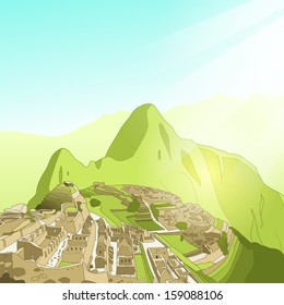 simple clean vector machu picchu landscape