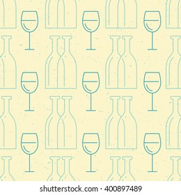 Simple and clean vector seamless background with bottles and glasses made in vector.