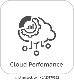 Simple Cloud Perfomance Vector Line Icon with Gear Wheel and Graphs.