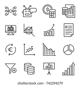 Simple collection of analysis related line icons. Thin line vector set of signs for infographic, logo, app development and website design. Premium symbols isolated on a white background.