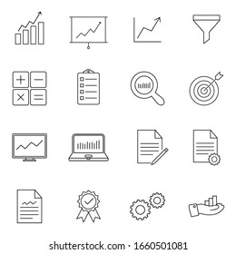 Simple collection of analytic related line icons. Contains such icon as analytic, chart, graph, growth, traffic, research, statistic and more. Premium symbols isolated on a white background.