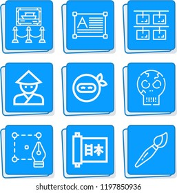 Simple collection of art related outline icons  about  signs for infographic, logo, app development and website design.  premium symbols isolated on a stylish background.