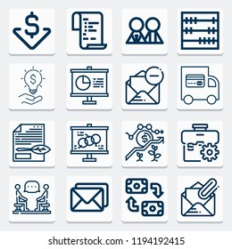 Simple collection of business related outline icons  about  signs for infographic, logo, app development and website design.  premium symbols isolated on a stylish background.