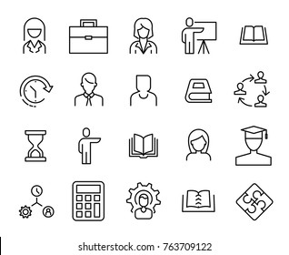 Simple collection of business training related line icons. Thin line vector set of signs for infographic, logo, app development and website design. Premium symbols isolated on a white background.
