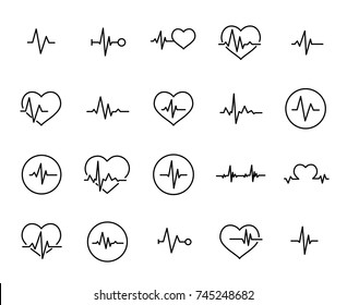 Simple collection of cardiogram related line icons. Thin line vector set of signs for infographic, logo, app development and website design. Premium symbols isolated on a white background.