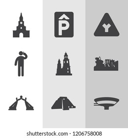 Simple collection of city related filled icons.  about  signs for infographic, logo, app development and website design.  premium symbols isolated on a stylish background.