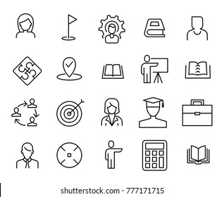 Simple collection of coaching related line icons. Thin line vector set of signs for infographic, logo, app development and website design. Premium symbols isolated on a white background.