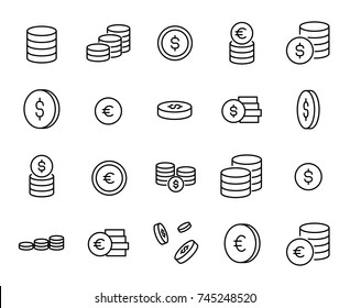 Simple collection of coin related line icons. Thin line vector set of signs for infographic, logo, app development and website design. Premium symbols isolated on a white background.