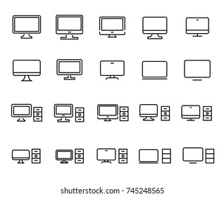 Simple collection of computer related line icons. Thin line vector set of signs for infographic, logo, app development and website design. Premium symbols isolated on a white background.