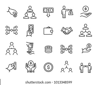 Simple collection of crowdfunding related line icons. Thin line vector set of signs for infographic, logo, app development and website design. Premium symbols isolated on a white background.