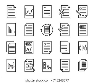 Simple collection of document related line icons. Thin line vector set of signs for infographic, logo, app development and website design. Premium symbols isolated on a white background.