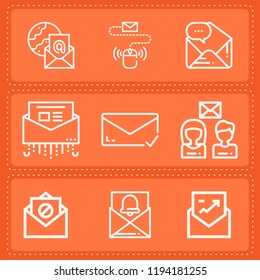 Simple collection of email related outline icons  about  signs for infographic, logo, app development and website design.  premium symbols isolated on a stylish background.
