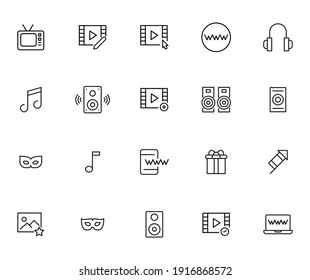 Simple collection of entertainment related line icons. Thin line vector set of signs for infographic, logo, app development and website design. Premium symbols isolated on a white background.