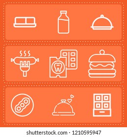 Simple collection of food related outline icons  about  signs for infographic, logo, app development and website design.  premium symbols isolated on a stylish background.