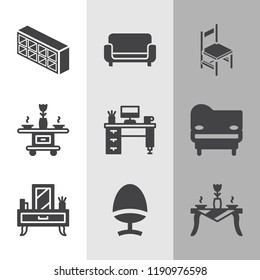 Simple collection of furniture related filled icons  about  signs for infographic, logo, app development and website design.  premium symbols isolated on a stylish background.