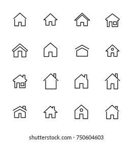 Simple collection of home related line icons. Thin line vector set of signs for infographic, logo, app development and website design. Premium symbols isolated on a white background.